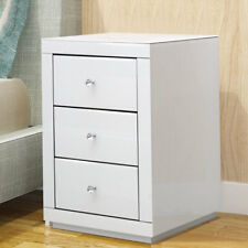 Buy white glass bedside tables cabinets with 3 drawers ebay modern mirrored glass bedside table chest cabinet cupboard 3 drawers unit white watchthetrailerfo