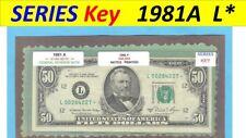 """== Series Key == 1981a """" L """" star note $50.00 FRN"""