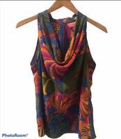 Banana Republic Trina Turk Collection Silk Print Top Size 12