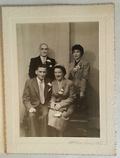 Vintage 50s B/W Photograph. Simple/ Humble Wedding Group. 4 People. Ration Book