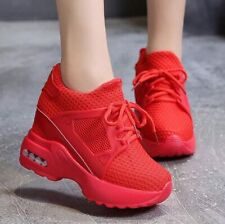 Women Breathable Casual Shoes Platform Wedge Fashion Sneakers High Heel Boots