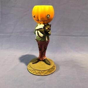"""LENOX HALLOWEEN Gentleman PUMPKIN 7.25""""  Candle Holder Black Cat New in Box"""