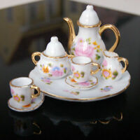 8pcs/Sets Porcelain Tea Set Teapot Vintage Mini Coffee Teacup Retro Floral Cups