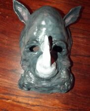 Clay Sculpted Rhino Rhinoceros Theater Mask Adult Folk Art Halloween New