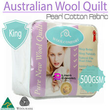 Aus Made Luxury PEARL COTTON SATEEN CASING MERINO Wool Quilt 500GSM-- KING