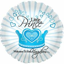 New baby balloon LITTLE PRINCE WELCOME TO YOUR KINGDOM blue helium foil balloon