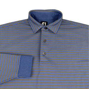 FootJoy Polo Shirt Men's Large Blue Striped Long Sleeve FJ
