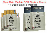 Mind your security =4 bank card+2 passport RFID blocked sleeve shield Anti Theft