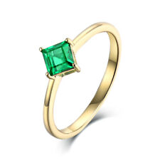 14K White Gold Colombia Emerald Wedding Vintage Antique Women Ring Smooth Band