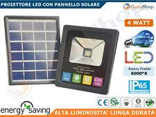 FARO LED 4W SLIM ENERGIA SOLARE PANNELLO SOLARE BATTERIA LITIO RICARICABILE IP65