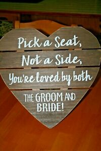 """Heart Shaped Seating  Standing Sign for Wedding-Rustic Wood Look 16""""X16""""-Used"""