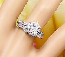 14K WHITE GOLD ROUND FOREVER ONE MOISSANITE DIAMOND ENGAGEMENT RING BAND 1.85ctw