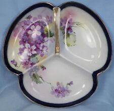 Hand Painted Nippon Candy Dish Violet Flowers Porcelain Divided Vintage A Beauty