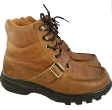 POLO SPORT RALPH LAUREN MAN BROWN LEATHER BOOTS LACES STRAP BUCKLE SZ 10.5D