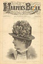 The Henri Trois Hat, Victorian Ladies Fashions, Vintage 1883 Antique Art Print