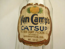 Neat Vintage Van Camp's Catup Bottle with Original Paper Label
