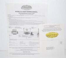 INSTRUCTIONS & WARRANTY PAPER Mr. Christmas Gold Label Ferris Wheel Worlds Fair