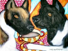 Akita drinking Coffee Pop Art Print 5 x 7 Dog Collectible Signed by Artist Ksams