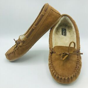 Clarks Suede Moccasin House Slippers Indoor Outdoor JMH1908 Womens 10M