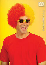 Two Tone Red & Yellow Curly Afro Wig Spanish Spain Fancy Dress