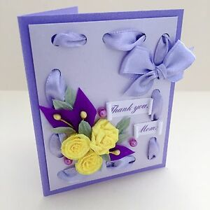 Small Hand Made Greeting Card 2.75 x 3.5 inches Thank You Mom Craft