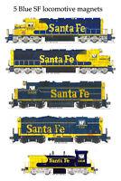 Santa Fe Blue Locomotives Set of 5 magnets by Andy Fletcher