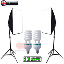 Photo Studio 2x135W Soft Box Continuous Lighting Softbox Light Stand Kit Set UK