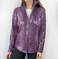 Misook Purple Leopard Zip Up Jacket Sequined S Small S17