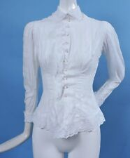 ANTIQUE VICTORIAN 19TH C SUMMER DRESS BUSTLE BODICE W EYELET RUFFLES