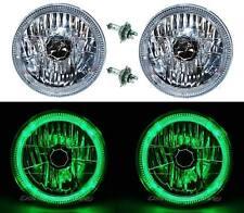 "7"" Halogen LED Green Halo Angel Eyes Headlight Headlamp H4 Light Bulbs Pair"