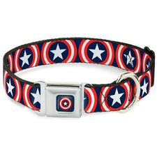 Buckle Down Captain America Sheild Navy Dog Collar Wide Large 18-32 X1 1/2 in
