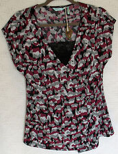 slim fabulous ultimate slimming Cap Sleeve Cross Over Top w Attached Camisole L