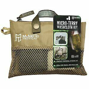 """GEAR AID Micro-Terry Washcloth Kit for Travel, Two Piece 10""""x10"""" OD Green & Sand"""