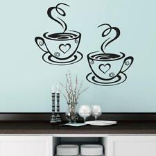 Black Coffee Cups Art Sticker PVC Coffee Sticker Decal Decoration For Kitchen