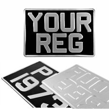 1x One Square Black and Silver Pressed Number Plate Car Metal Classic Aluminium