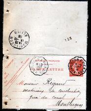 MONTLUCON à VIERZON (03) Carte-Lettre Oblitération Postale FERROVIAIRE Ambulant