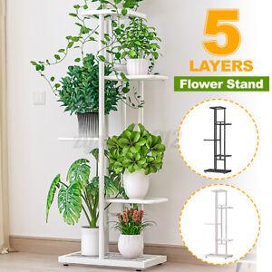 5 Tier Metal Flower Rack Intricate Shelf Indoor Outdoor Plant Pot Display Stand
