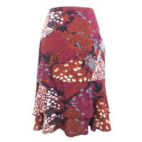 Boden Red Pink Trees Print Knee Length Ruffled Layered A Line Skirt Womens 8