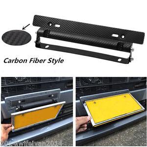Universal Carbon Fiber Style Adjustable Number Car License Plate Frame Holder