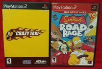 Simpsons Road Rage + Crazy Taxi  PS2 Playstation 2 Game Lot 1 Owner Complete