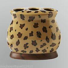 Essential Home Ceramic Lanai Leopard Print Brown Toothbrush Holder
