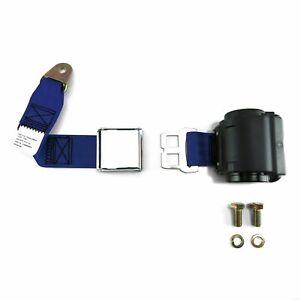 2pt Dark Blue Retractable Seat Belt Airplane buckle - Each