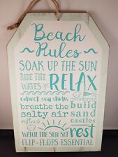 Beach Rules Hanging Wooden Sign Shabby Chic Plaque Seaside