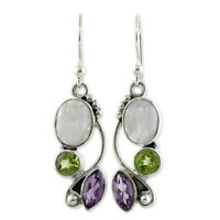 925 Silver Moonstone Earrings Peridot Amethyst Dangle Drop Hook Bridal Jewelry