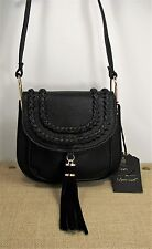 Moda Luxe Nola Crossbody Purse Genuine Suede Tassel Black Faux Leather Msrp 80