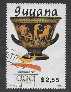 GUYANA POSTAL ISSUE - 1989 USED $2.55 STAMP, OLYMPIC GAMES, BARCELONA '92 VASE