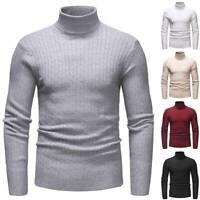 Mens Slim Warm Knit Sweater Turtleneck Jumper Pullover Long Sleeve Slim Fit Tops