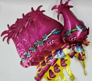 5 x 40cm Disney Trolls Happy Birthday Foil Party Balloon Air Fill Job Lot