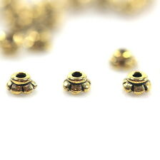 Scolloped Bead Caps, TierraCast, Gold Plated, Tiny 4mm, 50 Pieces