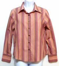 Talbots Ladies Pink and Yellow Stripe Cotton Button Front Petites Shirt - Sz 8